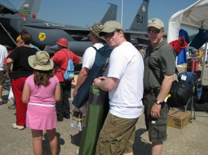 Hero & H.S. #2, waiting for up-close view of Strike Eagle cockpit.